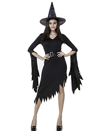 Colorful House Womens Sexy Witch Halloween Fancy Dress Costume Outfit, Black, (Zombie Costume For Female)