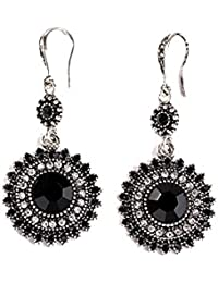 Fashion Silver Plated Crystal Flower Leaf Synthetic Turquoise Cubic Zircon Stud Hoop Dangle Earrings for Women Girls