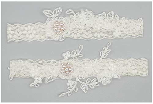 Lovely Set Pearl (Lovful Lovely Women White Bridal Garter with Pearl Lace Garter Set, Beige)