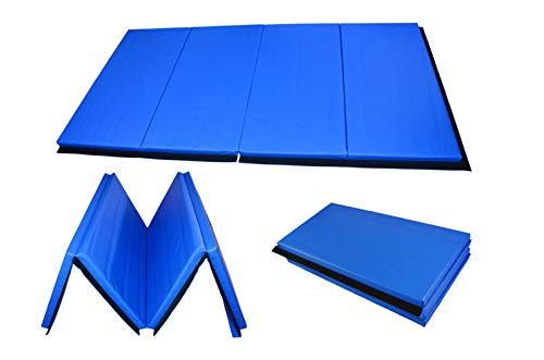KTOURT Gymnastics Mats-Thick Folding Panel Tumbling Mat,PU Leather Gym Exercise Aerobics Mats Stretching Fitness Yoga with Handles, 96x48x 2 inch (Blue) (48 X 96 Mat)