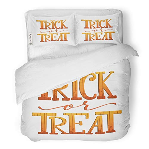 Tarolo Bedding Duvet Cover Set Holiday Trick Treat Halloween Hand Lettering and Pumpkin on White Text Abstract 3 Piece Twin 68