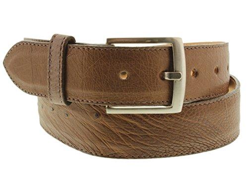 - Cowboy Professional - Men's Brown Real Ostrich Belly Skin Cowboy Belt Silver 42