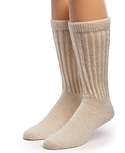 Warrior Alpaca Socks - Men's & Women's Extra Wide Loose Top Terry Lined Thick Crew Alpaca Socks with Comfort Band (Large, Off-White (dye-free))