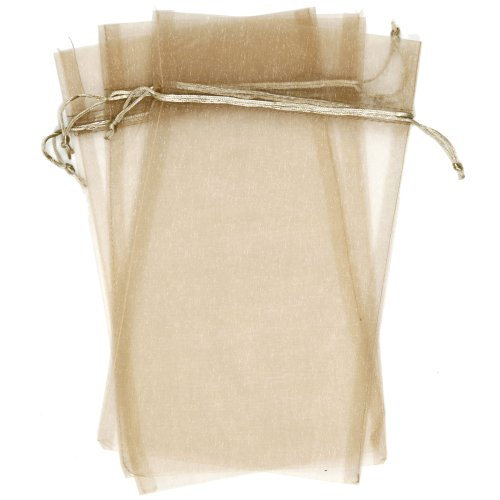 30 Designer Organza Fabric Gift Bags and Gift Pouches Party Gift Bags Tan Beige 8.75