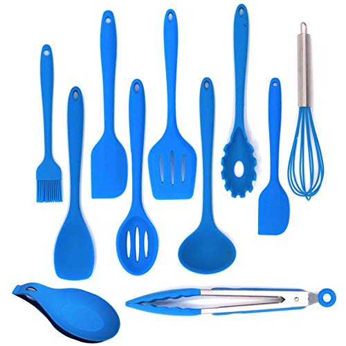 Shpebs 11 Pcs Silicone Heat Resistant Kitchen Cooking Utensils set Non-Stick Baking Tool, Spatulas, Serving Tong, spoon and more (blue) (Blue Silicone Kitchen Utensils)