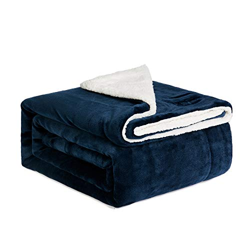 Navy Reversible Fleece - NEWSHONE Sherpa Throw Blanket Flannel Fleece Throw Blanket for Sofa Couch Warm Cozy Microfiber Reversible Plush Soft Warm Fuzzy Throw(60x 80 inches, Navy)