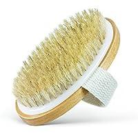 Cepillo corporal para la piel seca - Cerdas 100% naturales - Tratamiento de la celulitis, aumento de la circulación y estiramiento de la piel. (Paquete de 1)