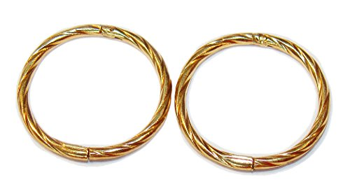 TWISTED 12mm 22K GOLD OVER SOLID STERLING SILVER HINGED HOOP EARRINGS, Easy On & Off !