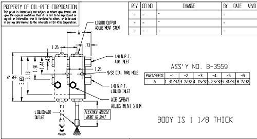 B3559-101X08, Air Operated Spray PurgeX for Liquid, 1 Feed, Buna-N Seals, 8'' Nozzle