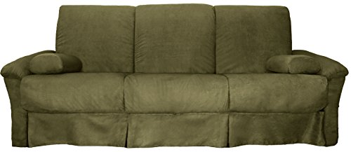 Epic Furnishings Tango Perfect Sit & Sleep Pocketed Coil Inner Spring Pillow Top Sofa Sleeper Bed, Queen-size, Microfiber Suede Olive Green Upholstery