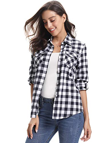 Aibrou Women's Roll up Long Sleeve Button Down Boyfriend Plaid Flannel Shirt Women Black & White