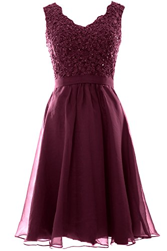 MACloth Women V Neck Vintage Lace Chiffon Short Prom Dresses Wedding Party Gown Wine Red