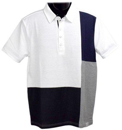Clack (クラック) ポロシャツ 半袖 前身頃 異素材 ブロック切り替え 襟 トップス ゴルフ 春 夏 秋 メンズ