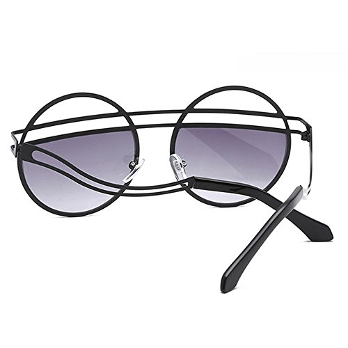 mujeres de Gafas sol femenina Hombres Gafas oscuras para Negro Diseño Gafas retro Steampunk para oval Moda sol de redondas vintage negras damas TwRZCaqX