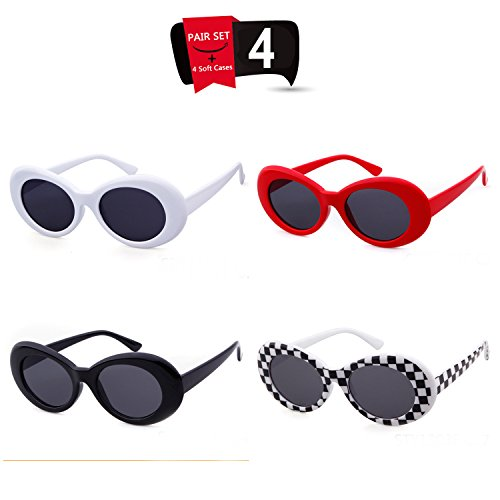 Bold Retro Oval Mod Thick Frame Sunglasses Clout Goggles with Round Lens (White/Checkered/Black/Red, - Glasses Checkered