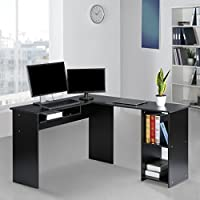 LANGRIA Modern L-Shaped Computer Desk Corner PC Latop Study Table Workstation Home Office with Mute Sliding Keyboard Tray and 2-Bookshelf Corner Table, Black