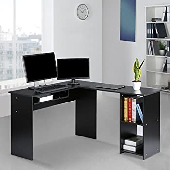 LANGRIA Modern L-Shaped Computer Desk Corner PC Latop Study Table Workstation Home Office with Mute Sliding Keyboard Tray and 2-Bookshelf Corner Table, Black [Back to School]