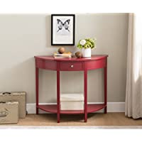 Kings Brand Furniture Red Finish Wood Half Round Console Sofa Entryway Accent Table with Drawer