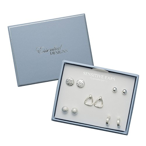 Essential Designs Hypoallergenic 5 Pair Silver Earring Set for Sensitive Ears