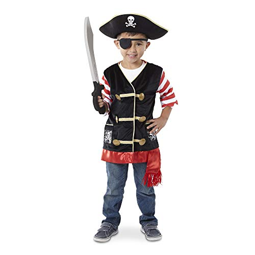 (Melissa & Doug Pirate Role Play Costume Set, Pretend Play, Materials, Machine Washable, 21.7