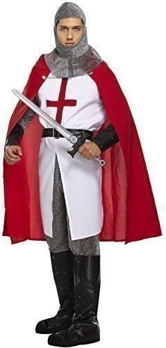 ADULT KNIGHT COSTUME MEDIEVAL CRUSADER ST GEORGES DAY SUPPORTER FANCY DRESS