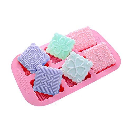 X-Haibei Square Chinese Knot Mooncake Chocolate Cake Gelatin Pan Silicone Soap Molds