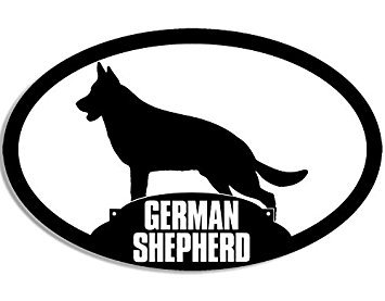 MAGNET Oval GERMAN SHEPHERD Silhouette Magnet(dog breed decal) Size: 3 x 5 inch ()