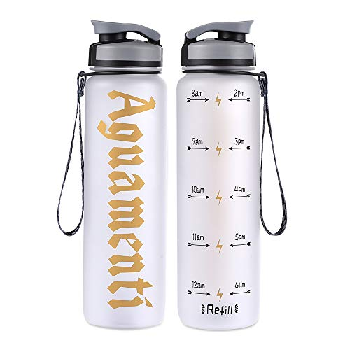 COSCOD Aguamenti Motivational Water Bottle with Time Marker Tracker, Funny HP Fans Gift, BPA Free Loop Top Radian Tritan Shaker Bottle, 32 Oz, for Fitness and Outdoor Sports, Leakproof and Durable