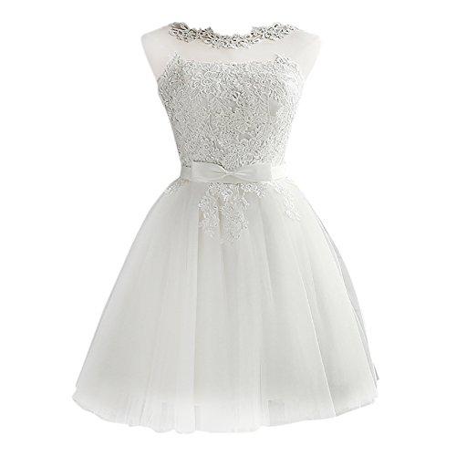 iShine Vestido Corto Verano para Mujer de Fiesta Floral con Arco Cintura de Novia Coctel Vestido Blanco