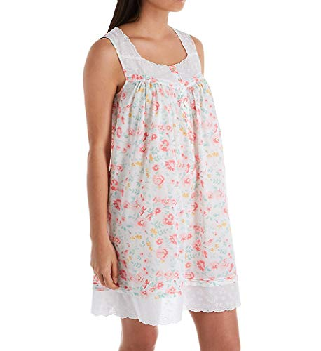 Eileen West Women's Cotton Woven Lawn Sleeveless Short Chemise White Ground Watercolor Floral Small