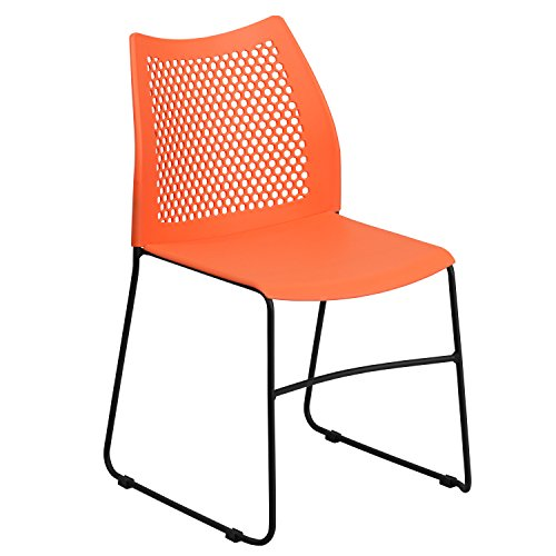 Flash Furniture HERCULES Series 661 lb. Capacity Orange Sled Base Stack Chair with Air-Vent Back by Flash Furniture