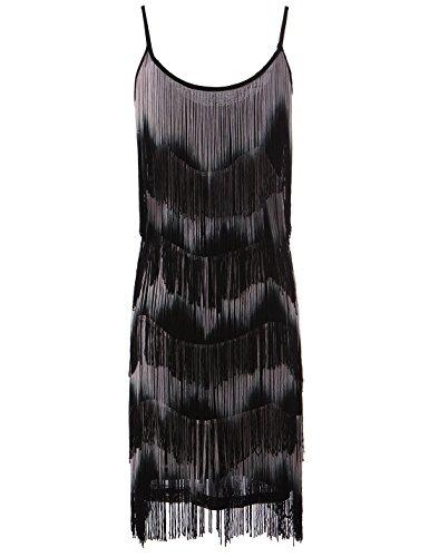 PrettyGuide Vintage 20s Double Side Flapper Fringe Tassel Tiered Swing Dress (Grey)