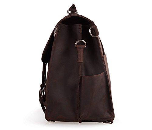 Polare Thick Full Grain Leather Shoulder Briefcase Satchel Messenger Bag For Men(Dark Brown) by Polare (Image #3)