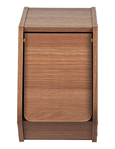 IRIS USA, SBD-NDB, Narrow Modular Wood Stacking Storage Box with Door, Dark Brown, 1 Pack