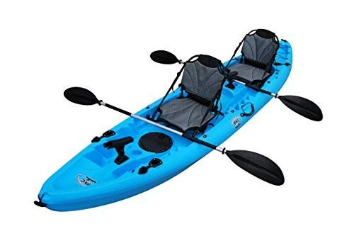 BKC TK219 12.2' Tandem SIt On Top Kayak W/Upright Aluminum Frame Backrest Support Seats, Paddles, 6 Fishing Rod Holders Included 2-3 Person Angler Kayak