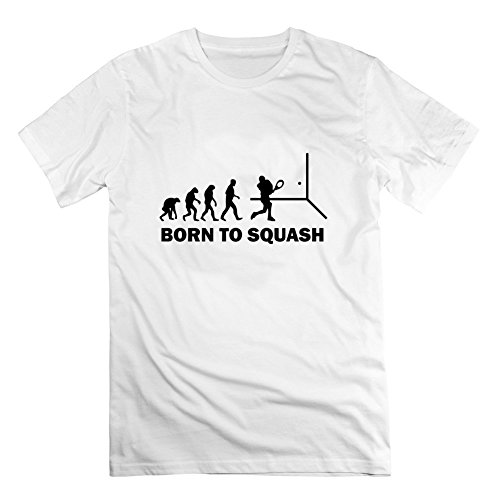 Born To Squash Image Men Style Personality Short Sleeves - Medium - Electric White