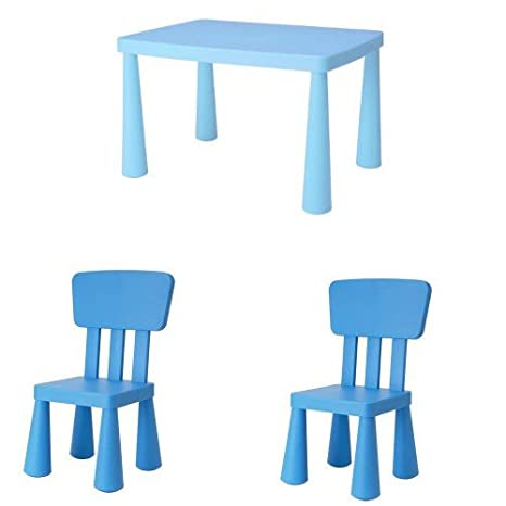 Tavolino E Sedie Ikea Mammut.Ikea Mammut Set Di Tavolo E 2 Sedie Per Bambini Colore Blu