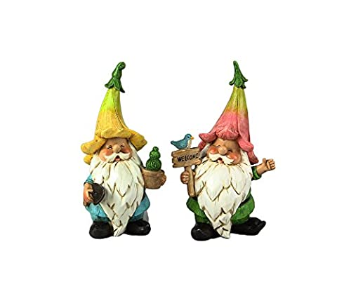 Resin Gnomes with Flower Hats, Set of 2 (Gnome With Hats)