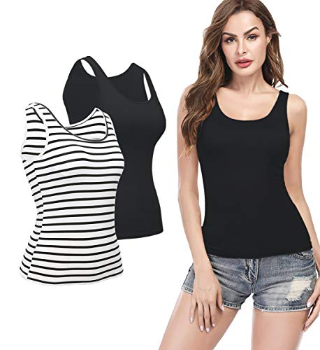 KIWI RATA Camisoles for Women with Built in Bra, Summer Sleeveless Shirt Casual, Padded Bra Women cami, Wide Straps Tank Top for Yoga 2 Pack Striped Black/Black L ()