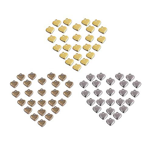 Bluecell 120pcs Assorted Color Alloy Mini Heart Charms Pendants for DIY Craft Jewelry Making, 12mm
