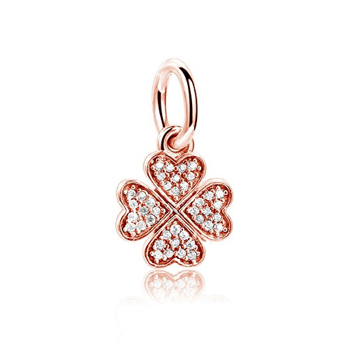 Romántico Amor Dazzling Clover Dangle Charm Rose Gold Clear CZ Bead fit Pandora Bracelets