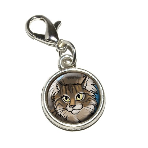 Graphics and More Maine Coon Cat Pet Antiqued Bracelet Pendant Zipper Pull Charm with Lobster Clasp