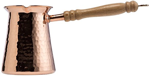 CopperBull DEMMEX 2017 Gorgeous Turkish Greek Hammered Copper Coffee Pot Ibrik Briki, 2mm Thick Copper (22 Ounce Copper w Wooden Handle) by CopperBull (Image #2)