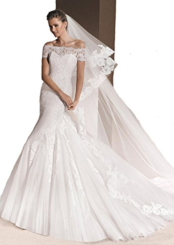 Passat Pale Ivory 2 Tiers 3M Cathedral French Rose Flowers Lace applique bridal hair Wedding Veil H002 (Cathedral Bridal Rose)