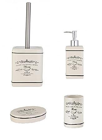 Bad Accessoire Set 4 Teilig Keramik Design Paris Badezimmer Seifenspender  Seifenschale WC Bürste Becher