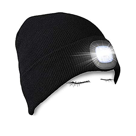 PRAVETTE LED Lighted Beanie Hat,USB Rechargeable Hands Free Headlamp Cap,Unisex Winter Warmer Knit Hat with Light for Men,Women (Black,Grey,Red) 41w21ChZ5rL