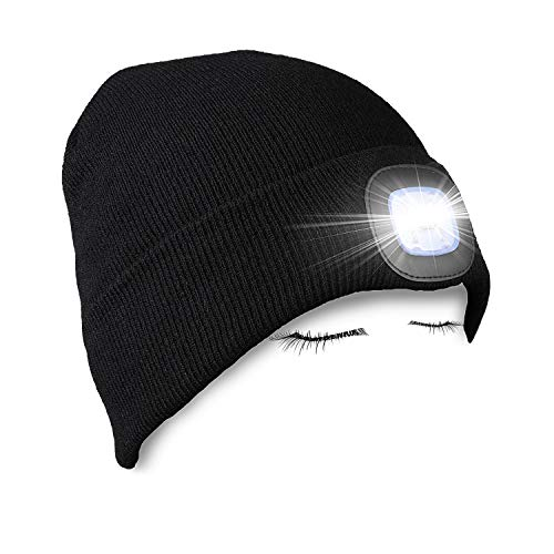 (PRAVETTE Unisex Lighted Beanie Cap Hands Free Headlamp Hat Winter Warm Knit Cap with Adjustable LED Brightness for Men,Women,Dog Walking, Hiking, Jogging, Camping, Handyman Working)
