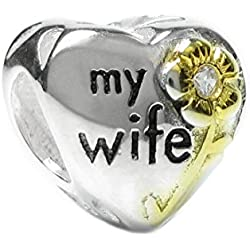 Sterling Silver 'Love My Wife' Cubic Zirconia Gold-tone Flower Family Heart European Bead Charm Valentine's Day Gifts Idea
