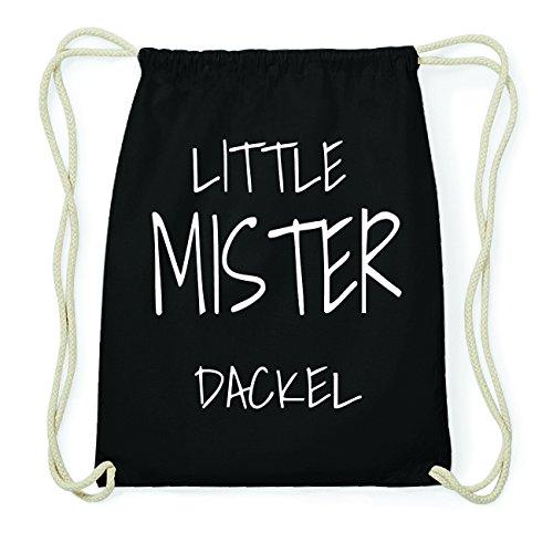 JOllify DACKEL Hipster Turnbeutel Tasche Rucksack aus Baumwolle - Farbe: schwarz Design: Little Mister aSS41kOI