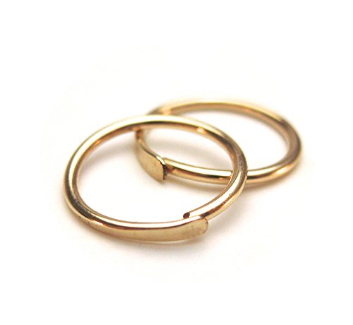 Simple Gold Cartilage Hoops, Upper Ear Piercing, Sleeper Hoops in Gold Filled Wire